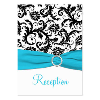 Blue, White, and Black Damask Enclosure Card Business Card