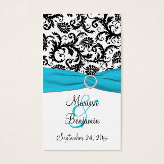 Blue, White, and Black Damask Wedding Favor Tag Business Card