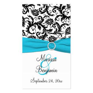 Blue, White, and Black Damask Wedding Favor Tag Pack Of Standard Business Cards