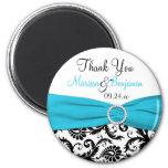 Blue, White, and Black Damask Wedding Favour 6 Cm Round Magnet