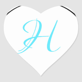 Blue, white and black moroccan hibiscus Initial Heart Sticker
