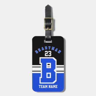 Blue, White and Black Sport Design Luggage Tag