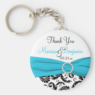 Blue, White, and Black Wedding Favor Key Chain