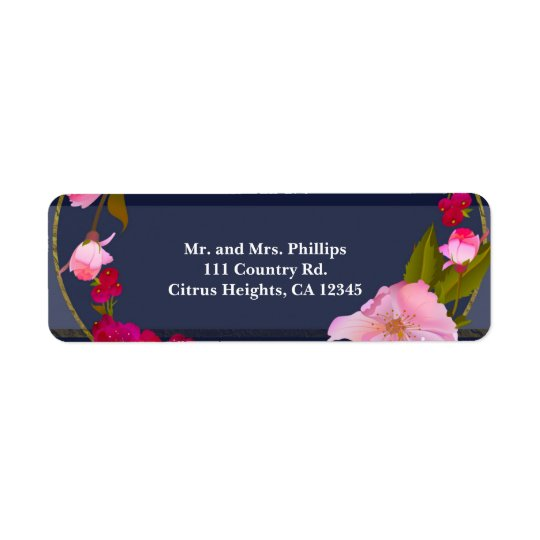 Blue White and Gold Modern Floral Chic Glam Party Return Address Label