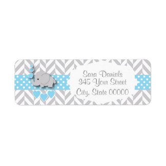 Blue, White and Gray Elephant Baby Shower Return Address Label