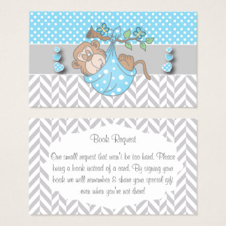 Blue, White and Gray Monkey Book Request Business Card