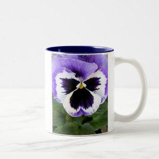 Blue, White and Purple Pansy Mugs