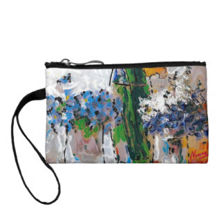 Blue white and yellow flowers Bagettes Bag Coin Wallets