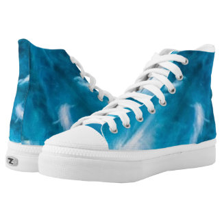 Blue White Angel Bird Feather Inspirational Shoe Printed Shoes