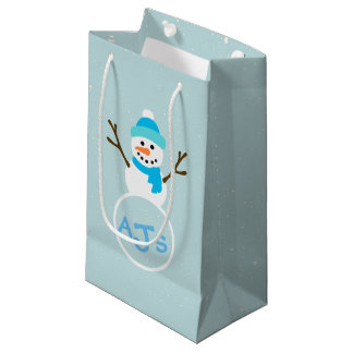 Blue White Aqua Monogram Snowman Gift Bag