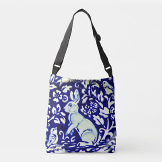 Blue, White Aqua Rabbit Birds Leaves Shopping Tote