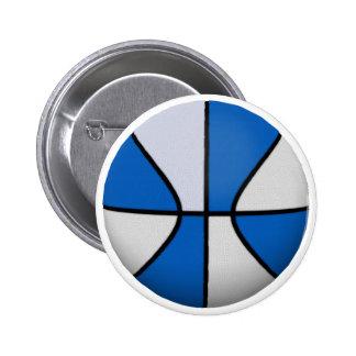 Blue & White Basketball: 6 Cm Round Badge
