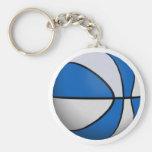 Blue & White Basketball: Basic Round Button Key Ring