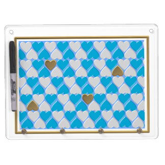 Blue, white Bavarian pattern. Dry Erase Board With Key Ring Holder