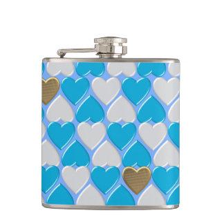 Blue, white Bavarian pattern. Hip Flask
