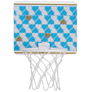 Blue, white Bavarian pattern. Mini Basketball Hoop
