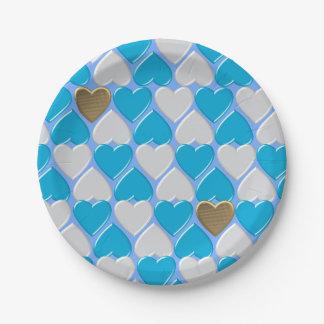 Blue, white Bavarian pattern. Paper Plate