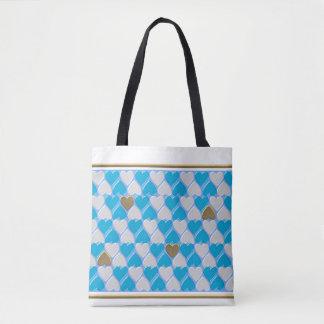 Blue, white Bavarian pattern. Tote Bag