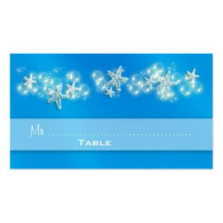Blue white beach starfish wedding business cards