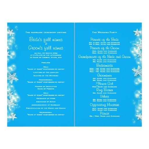 Blue white beach starfish wedding full color flyer