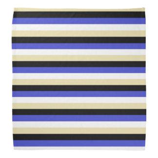 Blue, White, Beige and Black Stripes Bandana