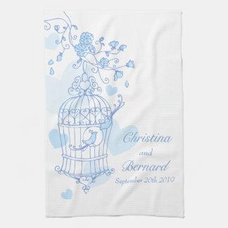 Blue white birds wedding keepsake kitchen towel