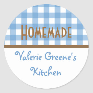 Blue white brown gingham homemade food label seal round sticker
