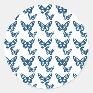 Blue & White Butterflies Stickers