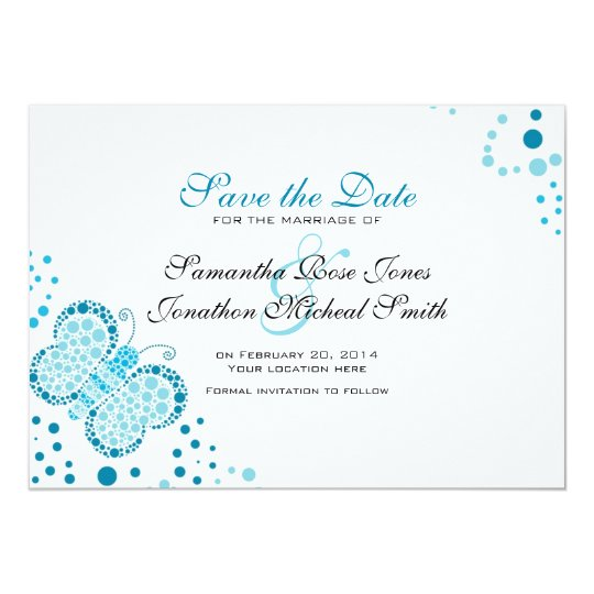 Blue & White Butterfly Pointillism Save the Date Card