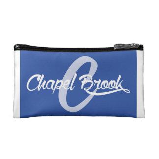 blue /white chapel brook design makeup bag