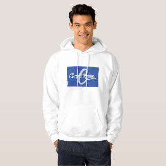 blue/white Chapel Brook logo on hooded white sweat Hoodie