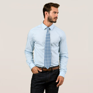 Blue white check pattern tie
