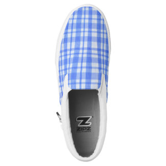 Blue & White Checkers Zipz Slip On Shoes, Printed Shoes
