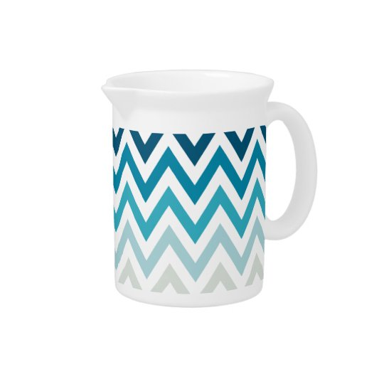 Blue White Chevron Geometric Designs Colour Drink Pitcher