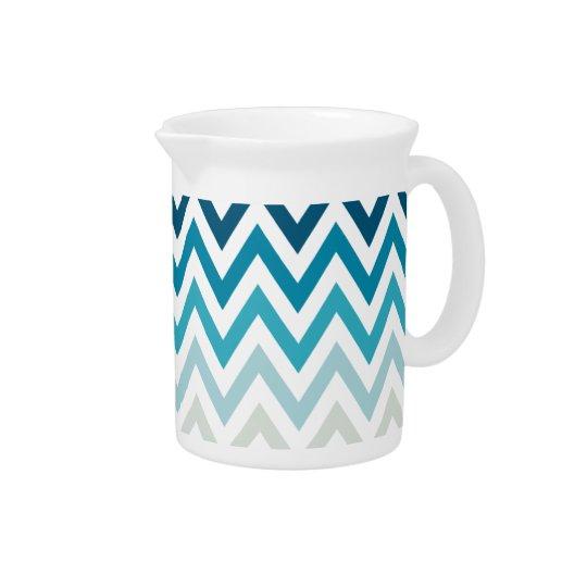 Blue White Chevron Geometric Designs Colour Pitcher