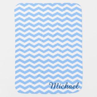 Blue & White Chevron Monogram Baby Blanket