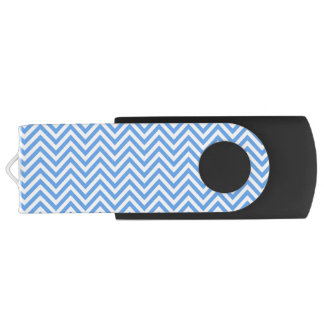 Blue & White Chevron Pattern, USB Flash Drive Swivel USB 2.0 Flash Drive