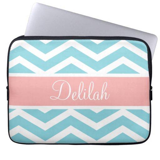 Blue White Chevron Peach Pink Name Computer Sleeve