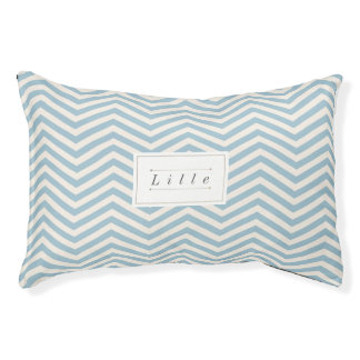 Blue & White Chevron Personalized Dog Pillow Bed