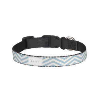 Blue & White Chevron Personalized Pet Collar