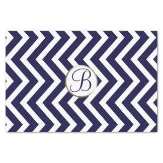 Blue White Chevron Print Monogram Letter Initial Tissue Paper