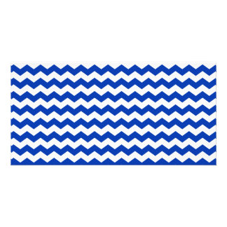 Blue white chevrons personalized photo card