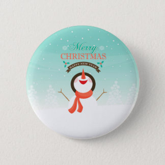 Blue White Christmas New Years Snowman Greetings 6 Cm Round Badge