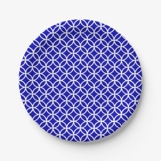 Blue White Circle of Life Paper Plate
