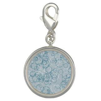 Blue white Circle Round Charm