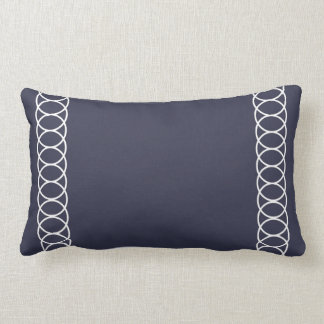 Blue & White Circle Trellis Lumbar Cushion