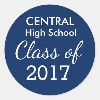 Blue & White Class of 2017 Graduation Favor Custom Classic Round Sticker