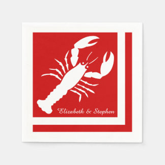 Blue | White Color Blocked Lobster Monogram | Name Paper Napkin