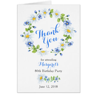 Blue White Country Daisy 80th Birthday Thank You Card