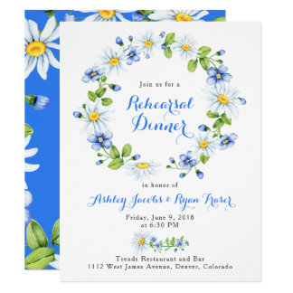 Blue White Country Daisy Floral Rehearsal Dinner Card